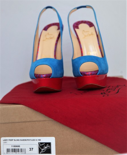 Christian Louboutin Ankle Boots Lady Peep Slingback Sandal Pump Red Blue Suede Patent Platforms Image 1