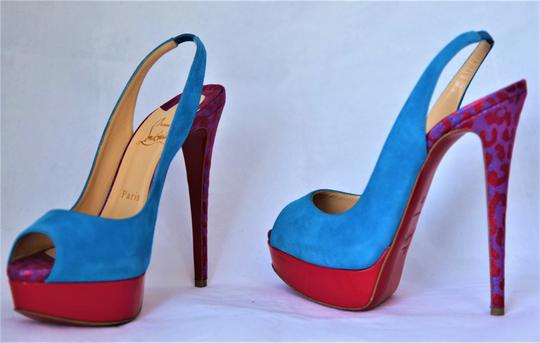 Christian Louboutin Ankle Boots Lady Peep Slingback Sandal Pump Red Blue Suede Patent Platforms Image 10