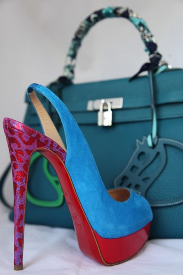 Christian Louboutin Ankle Boots Lady Peep Slingback Sandal Pump Red Blue Suede Patent Platforms Image 11