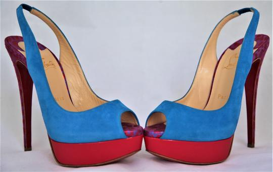 Christian Louboutin Ankle Boots Lady Peep Slingback Sandal Pump Red Blue Suede Patent Platforms Image 2