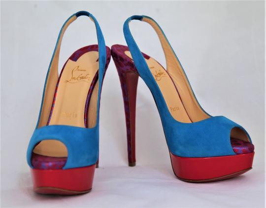 Christian Louboutin Ankle Boots Lady Peep Slingback Sandal Pump Red Blue Suede Patent Platforms Image 3