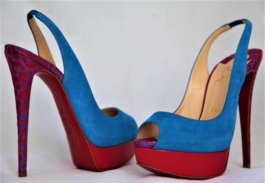 Christian Louboutin Ankle Boots Lady Peep Slingback Sandal Pump Red Blue Suede Patent Platforms Image 4