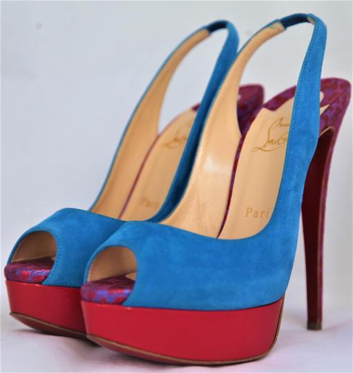 Christian Louboutin Ankle Boots Lady Peep Slingback Sandal Pump Red Blue Suede Patent Platforms Image 5