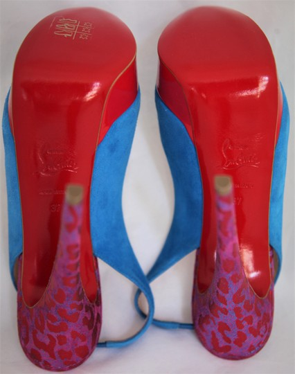 Christian Louboutin Ankle Boots Lady Peep Slingback Sandal Pump Red Blue Suede Patent Platforms Image 6