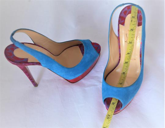 Christian Louboutin Ankle Boots Lady Peep Slingback Sandal Pump Red Blue Suede Patent Platforms Image 8