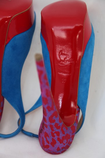 Christian Louboutin Ankle Boots Lady Peep Slingback Sandal Pump Red Blue Suede Patent Platforms Image 9