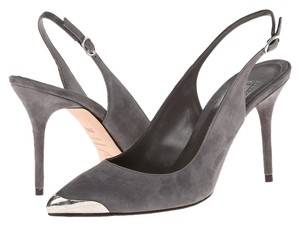 Alexander McQueen Pointy Slingback 85mm Metal Grey Pumps