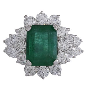 Fashion Strada 4.58CTW Natural Emerald And Diamond Ring 14K Solid White Gold