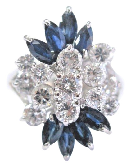 Preload https://img-static.tradesy.com/item/21344498/blue-fine-round-cut-diamond-and-gem-sapphire-white-gold-cluster-14kt-28-ring-0-1-540-540.jpg