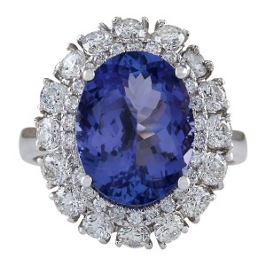 Fashion Strada 6.62 Carat Natural Tanzanite 14K White Gold Diamond Ring