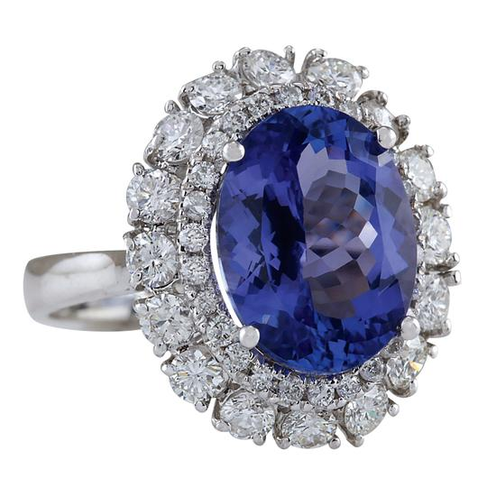 Fashion Strada 6.62 Carat Natural Tanzanite 14K White Gold Diamond Ring Image 1