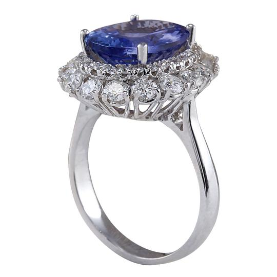Fashion Strada 6.62 Carat Natural Tanzanite 14K White Gold Diamond Ring Image 2