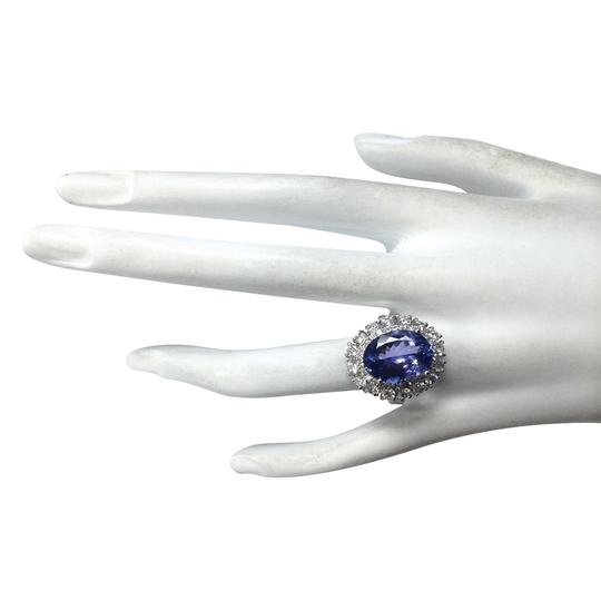 Fashion Strada 6.62 Carat Natural Tanzanite 14K White Gold Diamond Ring Image 3
