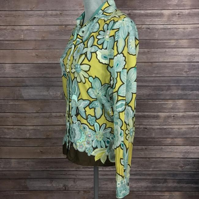 Max Mara Shirt Blouse Floral Embroidered Button Down Shirt Green/Blue/Brown Image 2