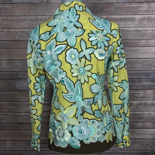Max Mara Shirt Blouse Floral Embroidered Button Down Shirt Green/Blue/Brown Image 4