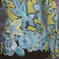 Max Mara Shirt Blouse Floral Embroidered Button Down Shirt Green/Blue/Brown Image 5