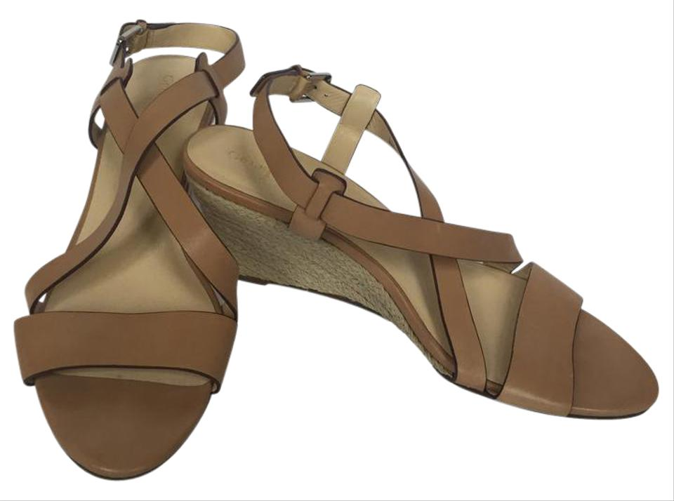 2d35c9a0f1e7 Cole Haan Leather Strappy Crisscross Strap Wedge Tan Sandals ...