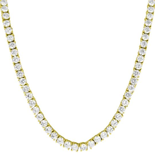 Other 14k Yellow Gold Tone Mens Iced Out Tennis Link Necklace 20 Chain 3mm Image 1