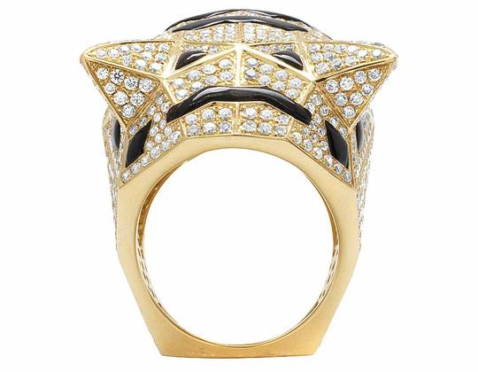 Jewelry Unlimited Men's 14K Yellow Gold Genuine Diamond Panther Custom Pinky Ring 8 1/2 Image 1