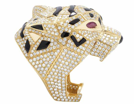 Jewelry Unlimited Men's 14K Yellow Gold Genuine Diamond Panther Custom Pinky Ring 8 1/2 Image 2