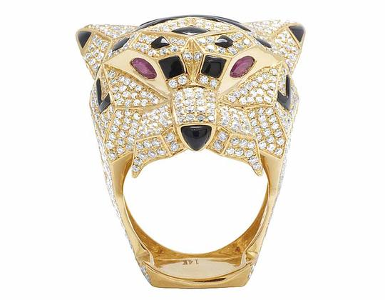 Jewelry Unlimited Men's 14K Yellow Gold Genuine Diamond Panther Custom Pinky Ring 8 1/2 Image 3