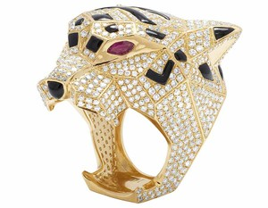 Other Men's 14K Yellow Gold Genuine Diamond Panther Custom Pinky Ring 8 1/2