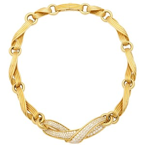 Jose Hess Jose Hess Diamond 18k Yellow Gold Ribbon Necklace