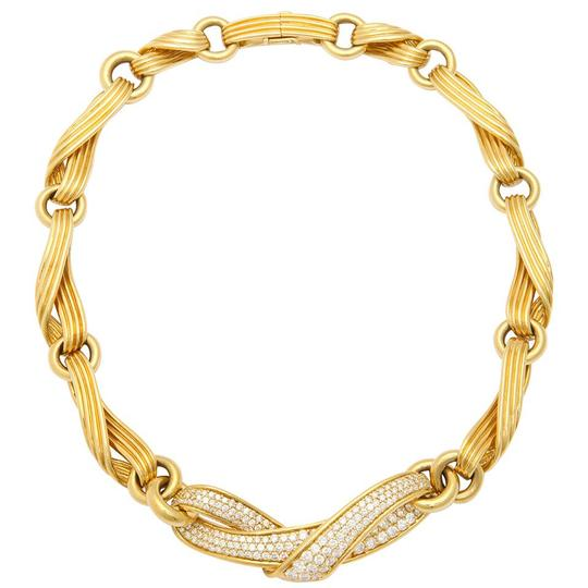 Preload https://img-static.tradesy.com/item/21344648/18k-yellow-gold-diamond-ribbon-necklace-0-0-540-540.jpg