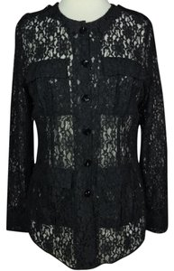 Misook Lace Longsleeve Blouse Button Down Shirt Black
