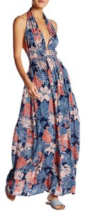 Oahu Halter Maxi Blue Multi Color Maxi Dress by Meghan LA Plunging Neckline Floral