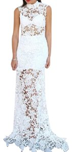 White Maxi Dress by Lioness Bohemian Festival Wedding Bridal Gown Long Draped Raw Floral Lace Lovely Chic Classic