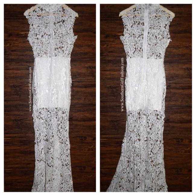 White Maxi Dress by Lioness Bohemian Festival Wedding Bridal Gown Long Draped Raw Floral Lace Lovely Chic Classic Image 6