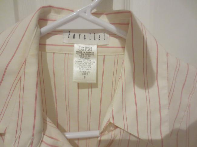 Parallel Tailored Button Down Shirt White and Red Pinstripe