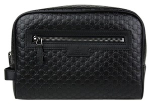 Gucci Leather Zip Top Black Travel Bag