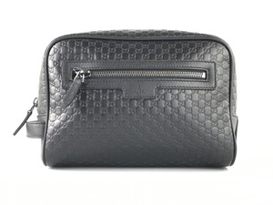 Gucci Gucci Black Leather Microguccissima Zip Top Toiletry Bag