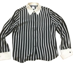 JG Hook Collared Striped Tuxedo Cuffs Button Down Shirt Black/White