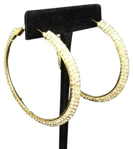 Knowles And Co Gold Plated Jewel Hoop Earrings