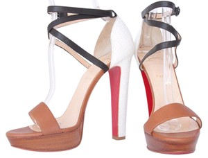 Christian Louboutin High Heels Ankle Boots Spikes Studs Sandal Brown White Platforms