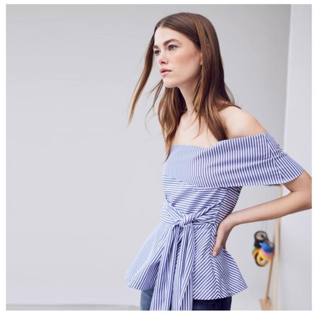 Other White Striped Open Shoulder Top Blue Image 1
