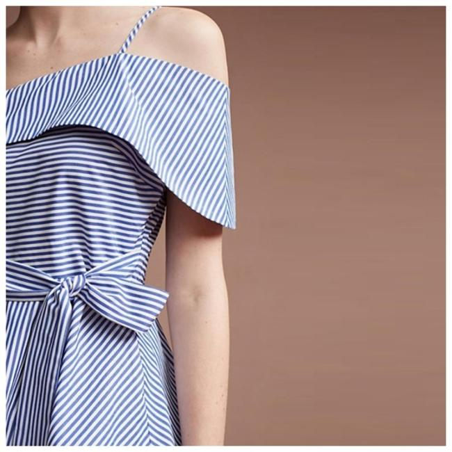 Other White Striped Open Shoulder Top Blue Image 3