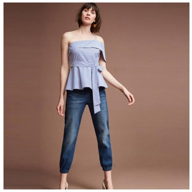 Other White Striped Open Shoulder Top Blue Image 4