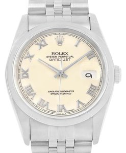Rolex Rolex Datejust Ivory Roman Dial Steel Mens Watch 16200