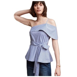 Other White Striped Open Shoulder Top Blue