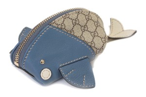 Gucci Guccissima Canvas Blue Leather Moby Dick Whale Purse Italy