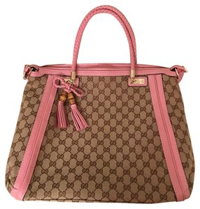 Gucci Tote in brown logo and pink leather