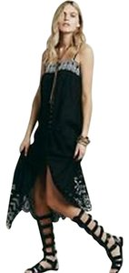 Black w White Trim Maxi Dress by Free People Embroidered Maxi Mid Summer
