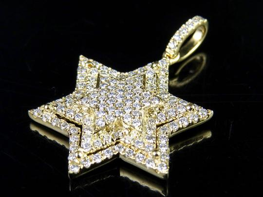 Jewelry Unlimited 10K Yellow Gold Stacked Iced Out Star Of David Diamond Pendant 3/4 ct Image 1