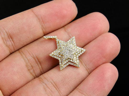 Jewelry Unlimited 10K Yellow Gold Stacked Iced Out Star Of David Diamond Pendant 3/4 ct Image 2