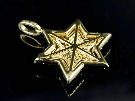 Jewelry Unlimited 10K Yellow Gold Stacked Iced Out Star Of David Diamond Pendant 3/4 ct Image 3