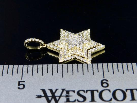 Jewelry Unlimited 10K Yellow Gold Stacked Iced Out Star Of David Diamond Pendant 3/4 ct Image 4